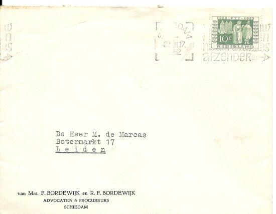 Enveloppe om brief van F. Bordewijk
