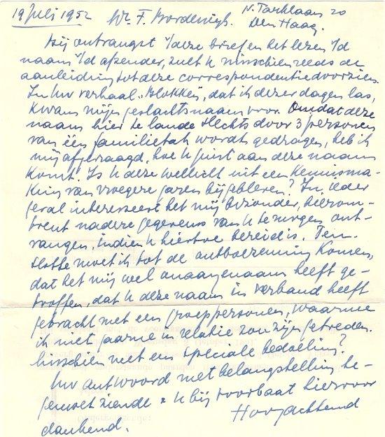 Brief van De Marcas aan F. Bordewijk