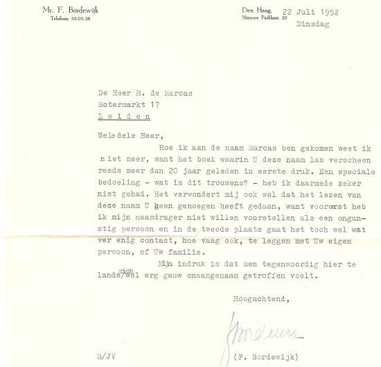 Brief van F. Bordewijk aan De Marcas