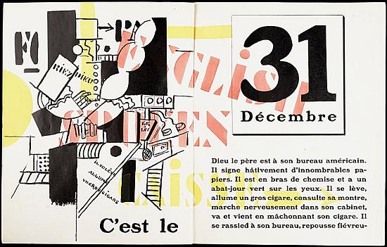 Illustratie uit 'La fin du monde, filmée par l'Ange N.–D.' door Blaise Cendrars met illustraties van Fernand Léger uit 1919. Een boek dat is opgenomen in 'Voices and Visions. The Koopman Collection in the National Library of the Netherlands' (Waanders, 2009)